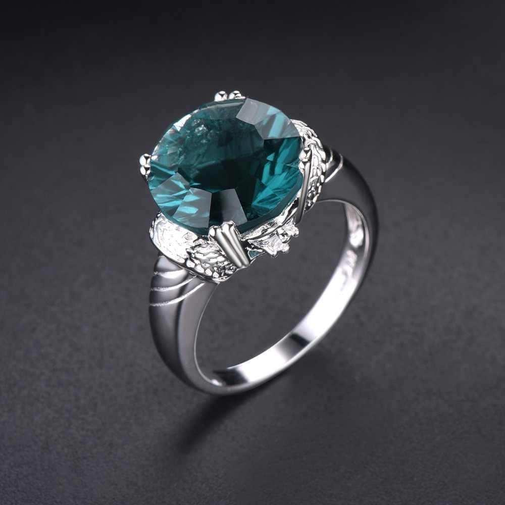 Hutang 12 มม. ธรรมชาติ Fluorite แหวนเงิน 925 อัญมณีงานแต่งงานแหวนเครื่องประดับคลาสสิกออกแบบสำหรับผู้หญิงที่ดีที่สุดของขวัญใหม่