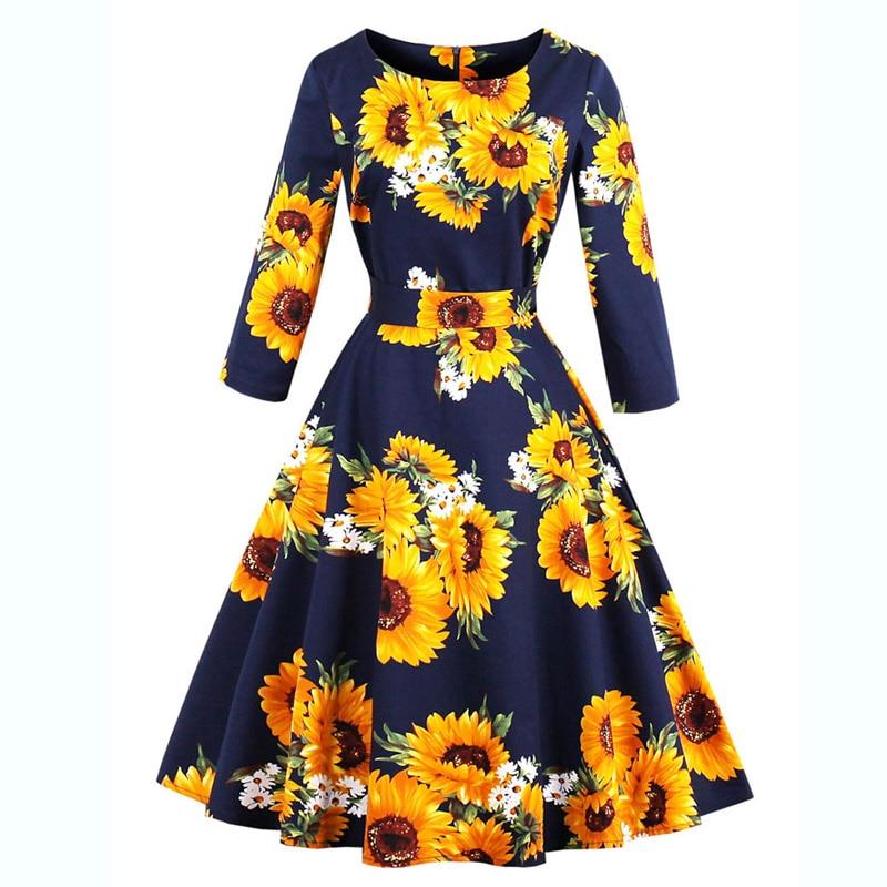 Women Autumn Pin Up dress Rockabilly Women Plus Size Sunflower Printed  Retro Vintage Dresses 50s 60s Three Quarter Sleeve Dress