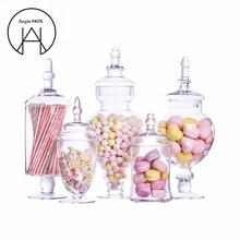 Nieuw Transparant Glazen Snoeppot Hotel Bruiloft Dessert Opbergfles Eettafel Decoratief Hoge gestreepte deksel Opslagtank