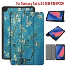 Voor Samsung Galaxy Tab EEN 8.0 Met S Pen 2019 Case Capa Houder Flip Cover A 8  SM-P200 P205 P207 Tablet Bescherming Slim