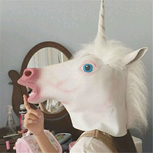 1pcs Funny Unicorn Head Mask 2019 Halloween Party Decoration Cosplay Headgear Horse Face Costume Supplies