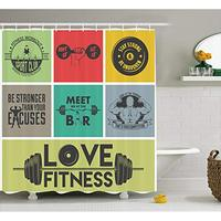 Vixm Fitness Various Motivational Quotes in Colorful Frames Get Fit Active Healthy Lifestyle Fabric Shower Curtains