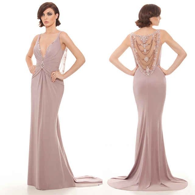 f4b640d2cad Latest Deep V-Neck Sleeveless Nude Long Evening Dresses Sexy See Through  Beading Back Formal Party Gown Vestidos de Gala JED13