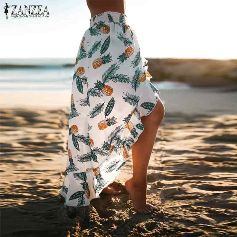 ZANZEA 2019 été bohème imprimé Maxi jupe décontracté Faldas Saia mode Floral élastique volant taille jupes grande taille