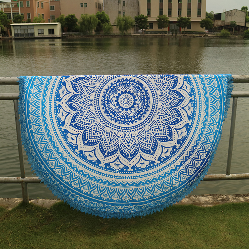 Handmade Summer Beach Towels Floral Printed Lace Tassels Round Blanket Bath Towel Swim Cover-ups High water absorbent Yoga Mat 7