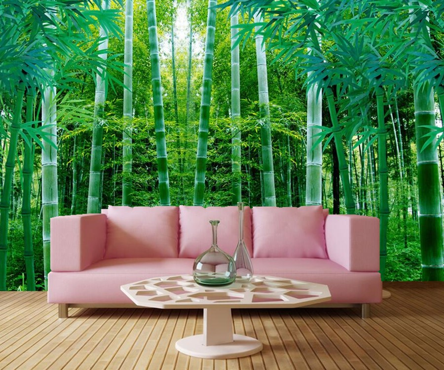 Fresh green bamboo forest 3d wallpaper hotel restaurant for 3d wallpaper for kitchen walls