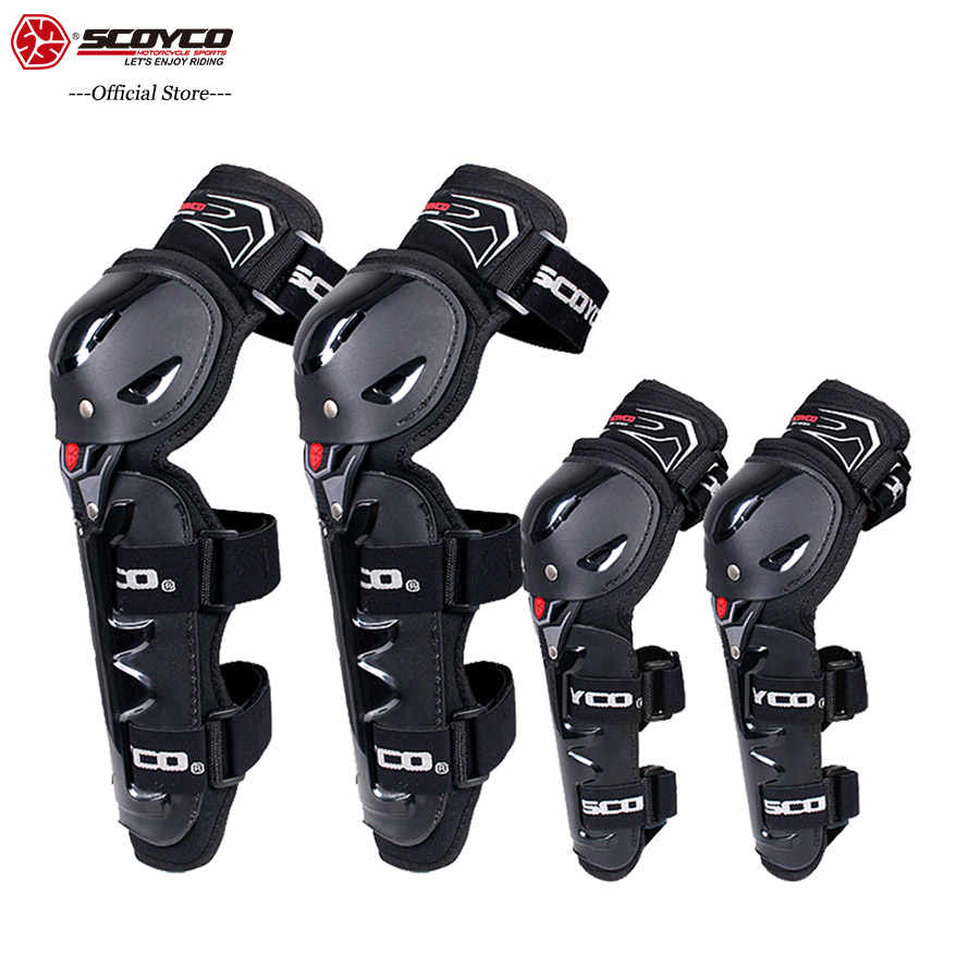 SCOYCO Motorcycle Knee&Elbow Guard 4 pcs with PP Shell Protection Shin Protector Safe Cycling Racing Extreme Sport Equipment k11