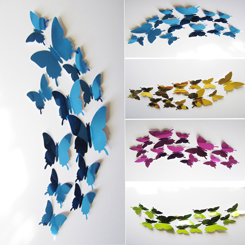 3d mirror 5 colors butterflies wall stickers for kids rooms party wedding home decor 12pcs/set wall decals art adesivo de parede