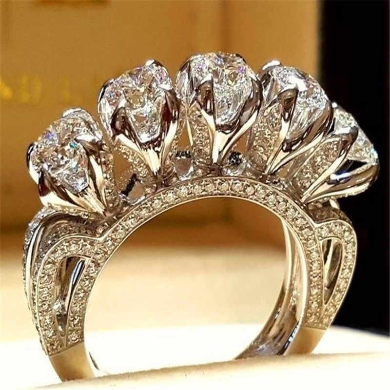 럭셔리 남성 여성 크리스탈 지르콘 스톤 링 빈티지 실버 컬러 결혼 반지 세트 약속 약혼 반지 남성과 여성을위한