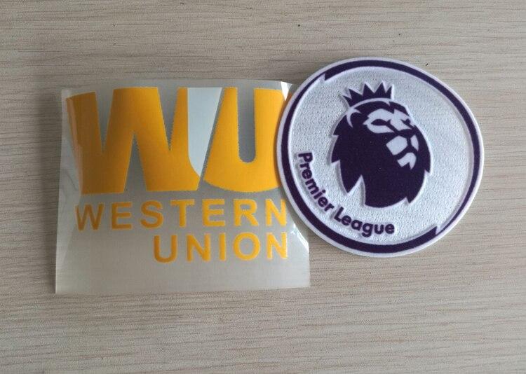 New 2017/18 England Premier League White Black Badges + Sponsor WU golden For LF Red Anfield