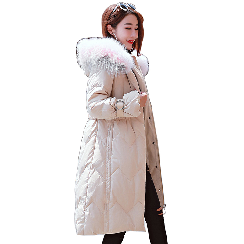 2018 Winter Women White duck   down     coats   Female   Down   jacket Ladies   Coat   Parkas Female Warm hooded thicker   down     coat   long jacket
