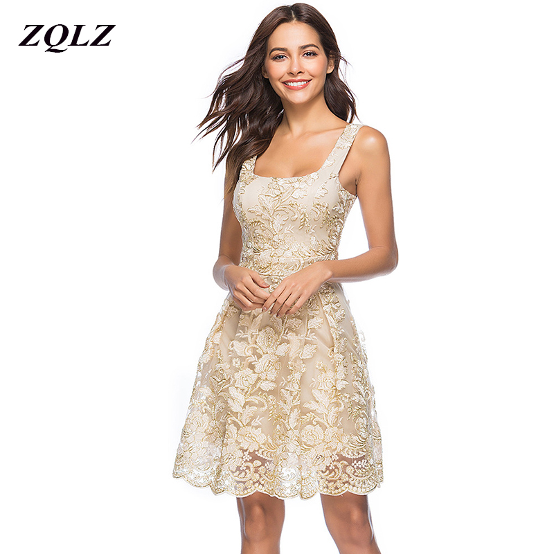 ZQLZ <font><b>2018</b></font> <font><b>Summer</b></font> Embroidery Floral Crochet Lace <font><b>Dress</b></font> <font><b>Women</b></font> Fashion Square Collar Sleeveless <font><b>Sexy</b></font> <font><b>Club</b></font> Evening Party <font><b>Dresses</b></font> image