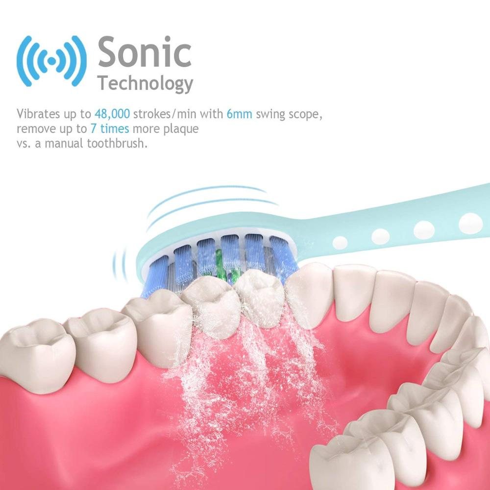 Lächen T7B Sonic Whitening Electric Toothbrush Sonic toothbrush with 4 brush heads and timer 5 modes USB charging