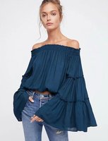 2018 Spring New Slash Neck Sexy Women Blouses Flare Sleeve Short Shirts Solid Color Ruffles Boho