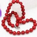Мода заявление женщины ожерелье 10 мм искусственный коралловый красный камень круглые бусины для цепь choker ключицы ювелирных изделий diy 18 дюймов B3212