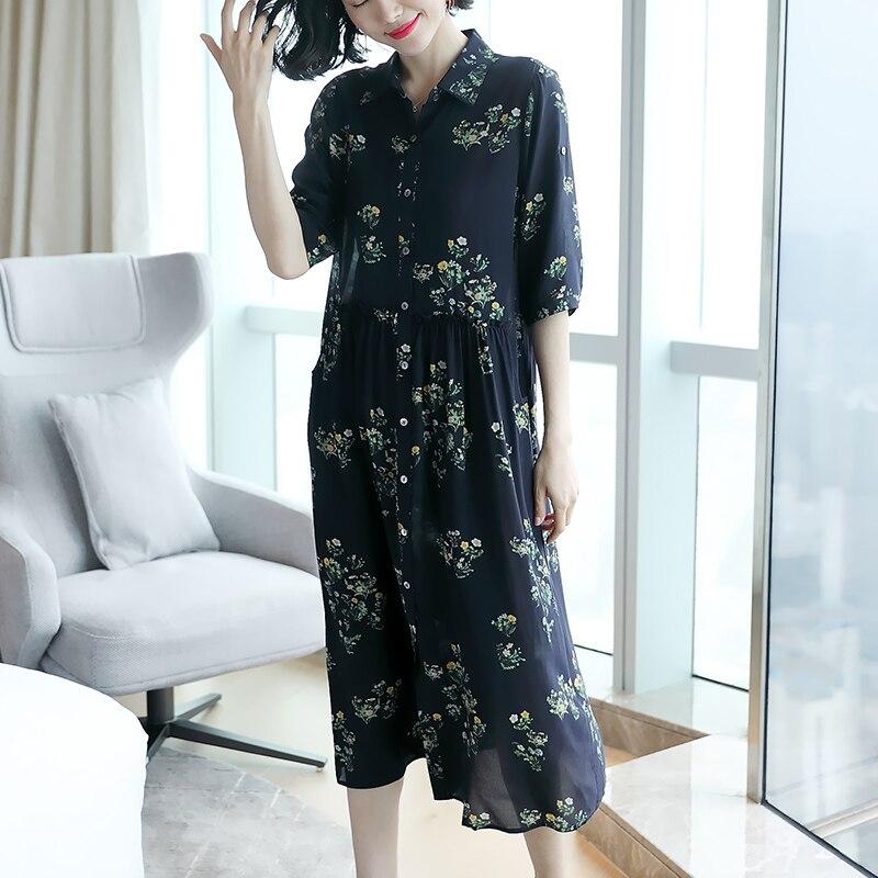 Robe Robe Imprimé Soie Seule D'une 100 En Chine 19 Noir Pièce De Crêpe Soie m M rIw8xHrq