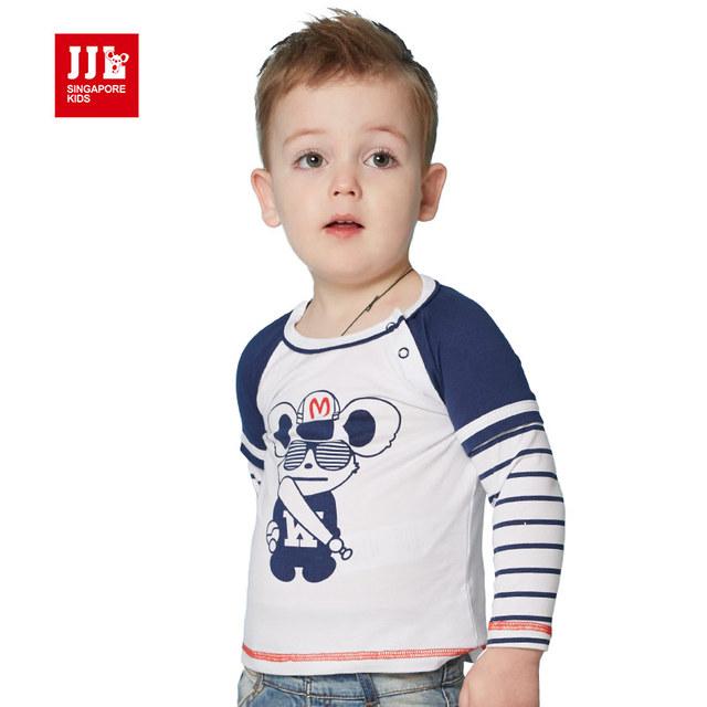 Niños del bebé camiseta de los muchachos 2016 del otoño del resorte de dibujos animados de moda camiseta 100% algodón de manga larga camiseta de niño de ropa de marca niños camisa