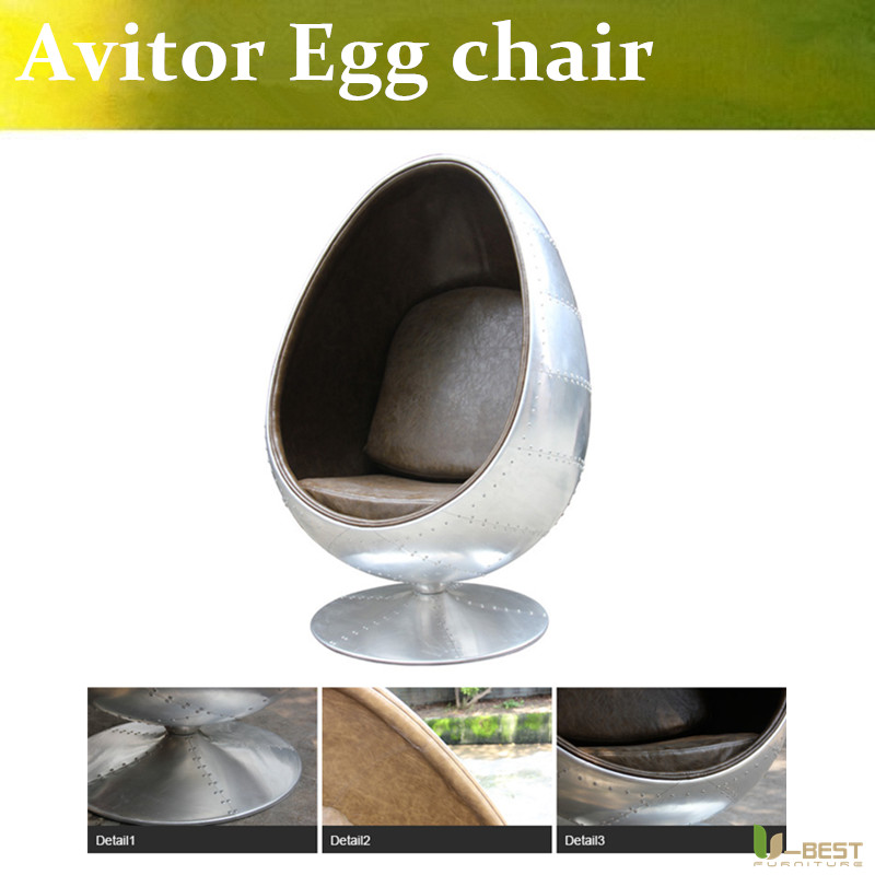 U-BEST High quality Arne Style Aviator Egg Chair,aluminum egg pod chair, office space furniture