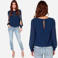 Women Lady Sexy Loose Long Sleeved Chiffon Casual Blouse Shirt Summer Top New Arrival