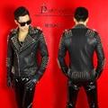 Черный мужской костюм Rive кожаные куртки пальто наряд бар певица танцор певец звезда ночной клуб производительности шоу super star
