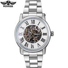 WINNER luxury brand men fashion mechanical watches bracelet steel band hot men's skeleton silver case watches relogio masculino