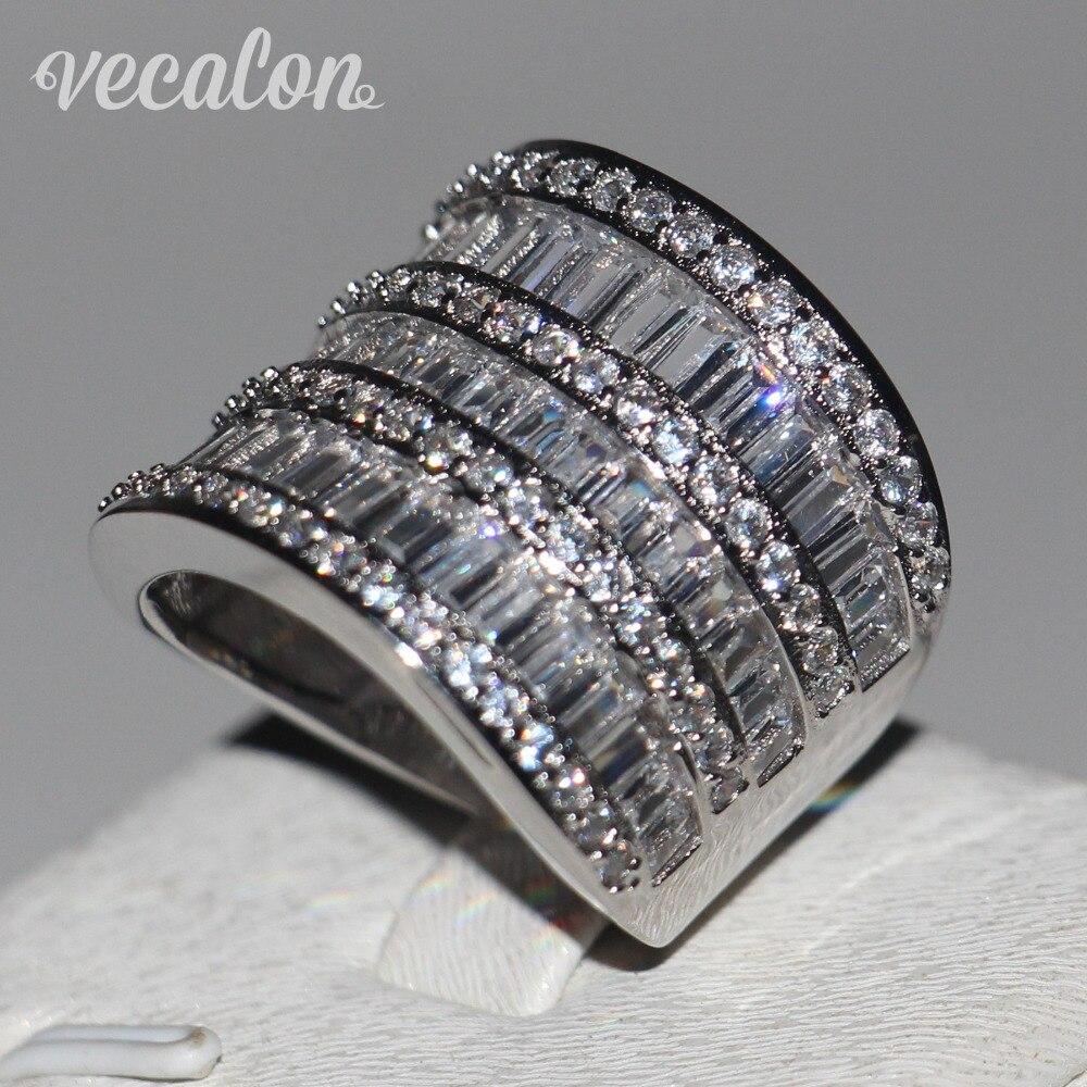 Vecalon Big Ring Women Jewelry Full Princess Cut Aaaaa Zircon Cz 925  Sterling Silver Engagement Wedding Band Ring For Women