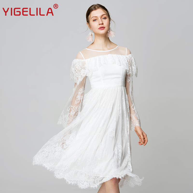9787c104b2bc YIGELILA Latest Spring Women White Lace Dress Fashion O-neck Flare Sleeve  Empire Slim Mid Length Mesh Hollow Out Dress 62280