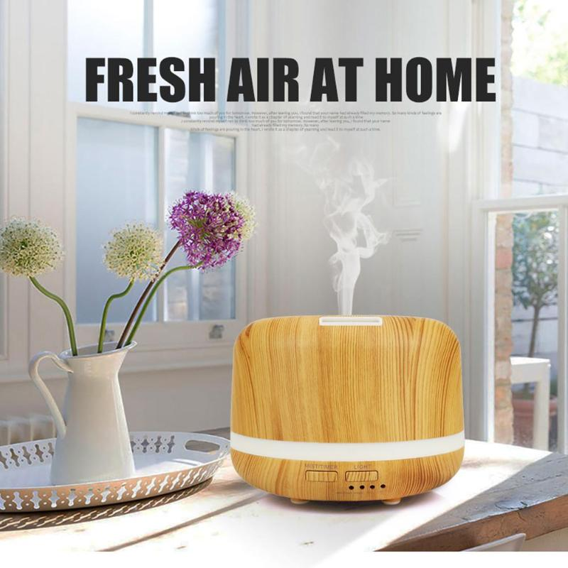 купить 300ml Ultrasonic Air Humidifier Aromatherapy Essential Oil Mist maker led light wood grain Aroma Diffuser for Home Office по цене 1142.36 рублей