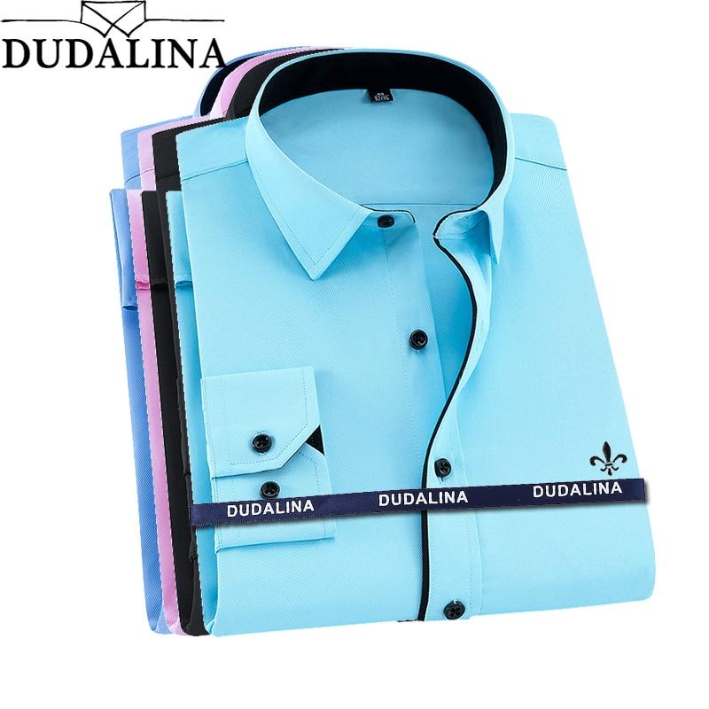 Dudalina Plus Size Camisa Social Masculina Men Shirt Long Sleeved Classical Male Shirts Formal Business Shirt Man Embroidery