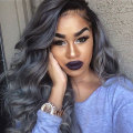 Grey Synthetic Lace Front Wig heat resistant two tone ombre black to sliver synthetic lace front wig with baby hair for women