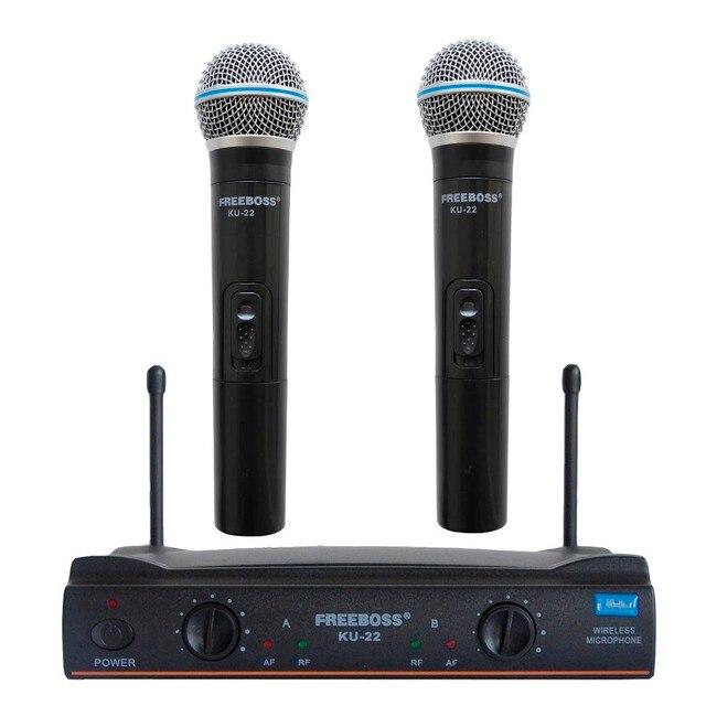 Freeboss KU-22 UHF Long Range Dual Channel 2 Handheld Mic Transmitter Professional Karaoke UHF Wireless Microphone System