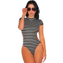 2016 Sexy Costumes Lingerie Hot Babydoll Fashion Bodydoll Small Striped Short Sleeved Turtleneck Back Teddies Fantasias Erotic