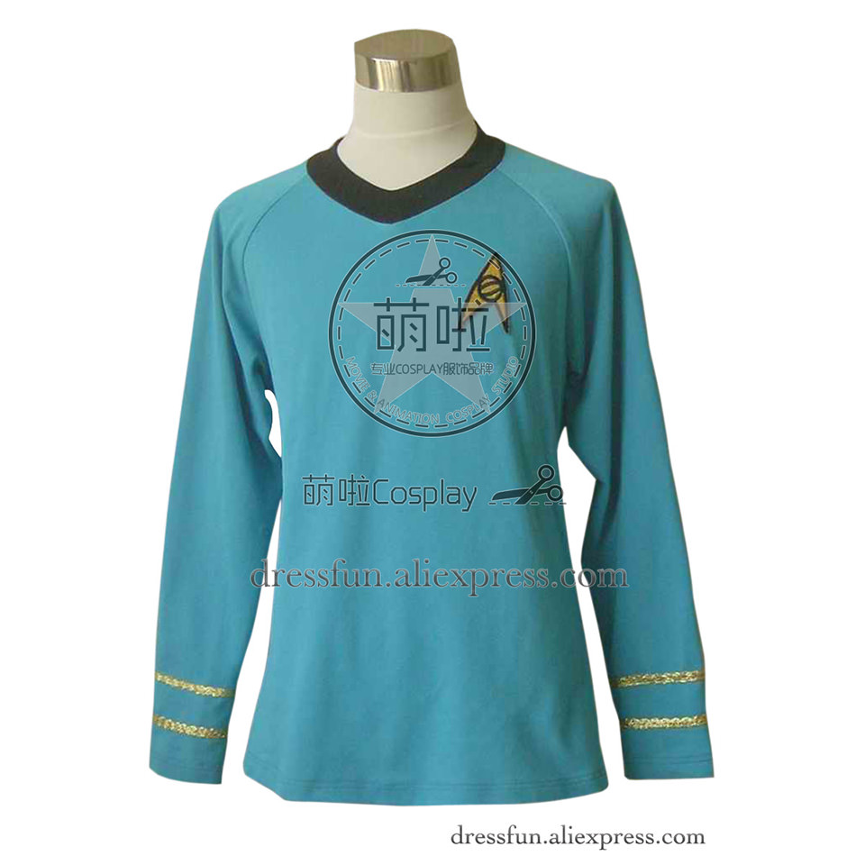 Star Trek TOS Cosplay Spock Costume Science Uniform Blue Shirt Outfits Suit Halloween Fashion Party Fast Shipping