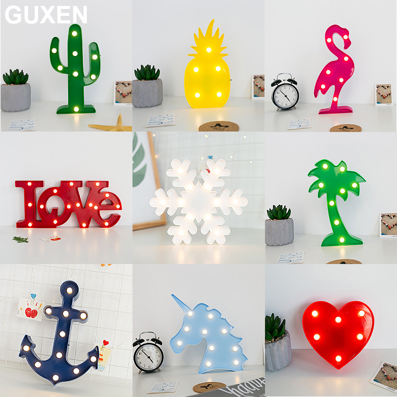 Guxen 3D Novelty Lamp Flamingo Pineapple Cactus Coconut Tree Boat Anchor Snowflake Unicorn Love Heart For Gift Bedroom Decorate худи print bar decorate tree