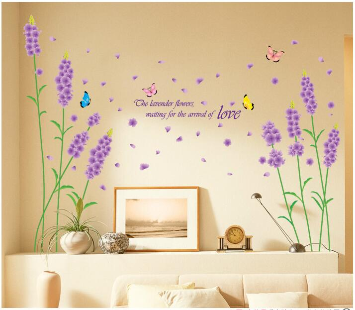 Lavender Flowers And Plants PVC 5070CM Romantic Family Home Children Kid Father Mother Background Room Lovely Happy Baby Beauty In Wall Stickers From