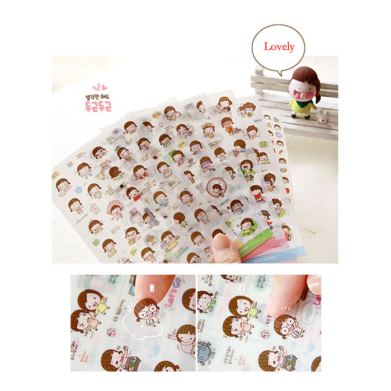 12 Sheet/lot  New Lovely Girl Transparent Diary Face Sticker Decorative Stickers