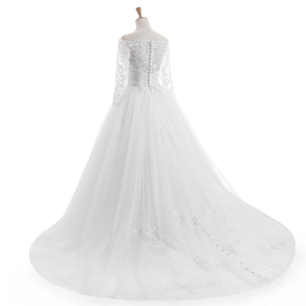 Elegantní Vestido De Novia Vintage bílé plesové šaty svatební - Svatební šaty - Fotografie 4
