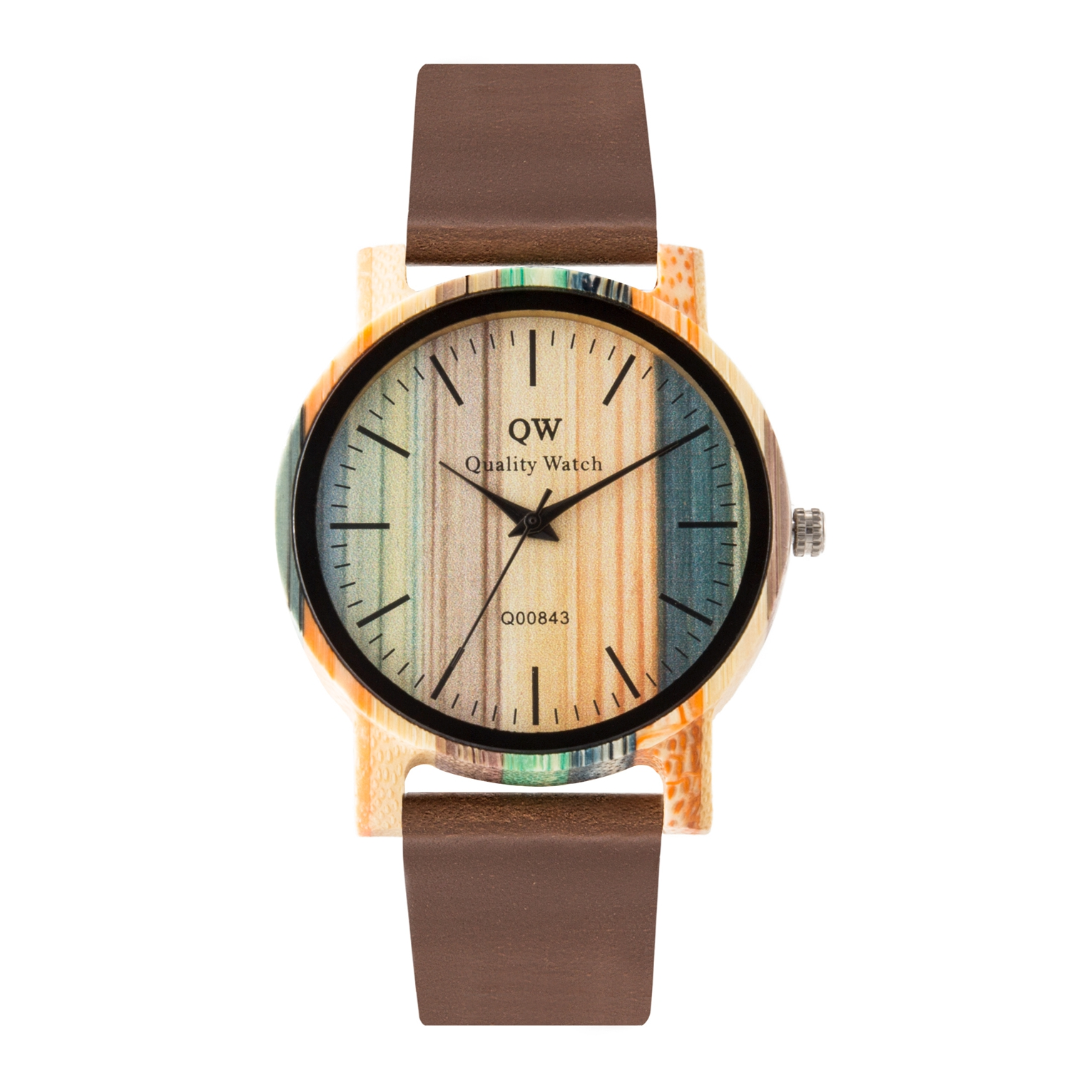 QW Sports Wooden Photo Personalized Watches For Men And Engraved Logo Quartz Gift Okwish  Bamboo 6 Wood Watch