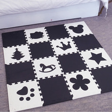 Meitoku Baby EVA Foam Play Puzzle Mat ، سجادة أرضية متشابكة وكليم ، وسادة 16Tiles للقبلة. الحافة الحرة.