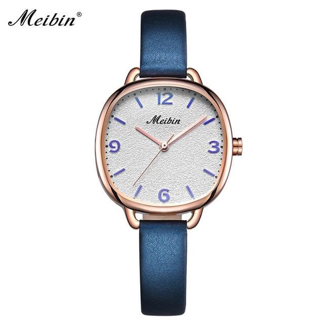 6fec703b1 Meibin أزياء العلامة التجارية السيدات الساعات الجلدية عارضة طالب عارضة فتاة  النساء اللباس ساعة هدية ساعة