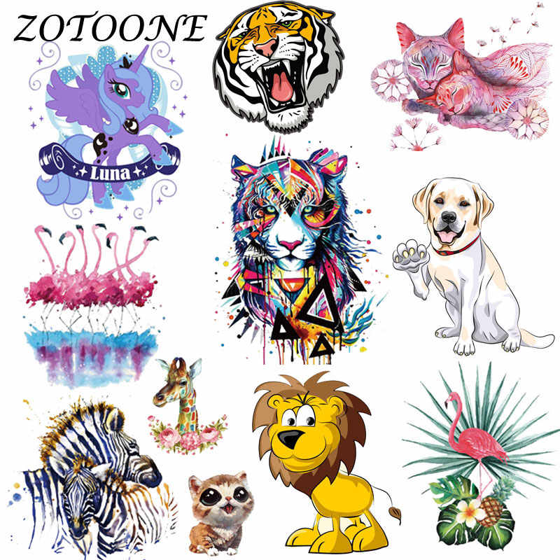 Zotoone 의류에 대한 패치에 열전달 타이거 플라밍고 꽃 유니콘 패치 t 셔츠 스티커 diy 액세서리 applique에 대한