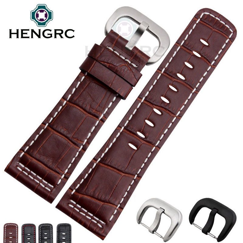 HENGRC 28mm Genuine Leather Watch Band Men High Quality Black Brown Strap Belt Stainless Steel Silver Black Metal Needle Buckle hengrc fashion genuine leather watch band belt 20mm 22mm brown blue high quality men strap metal needle buckle for panerai