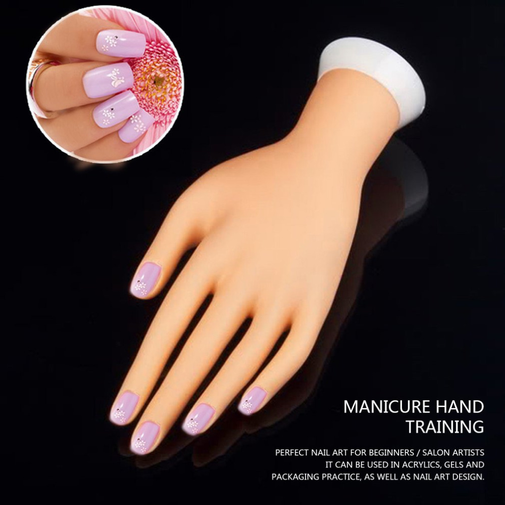 Pro Practice Nail Art Hand Soft Training Display Model Hands Flexible Silicone Prosthetic Personal Salon Manicure Tools Beauty plastic flexible mannequin model fake hand for nail art practice display tool salon nails training tattoo practice hand skin