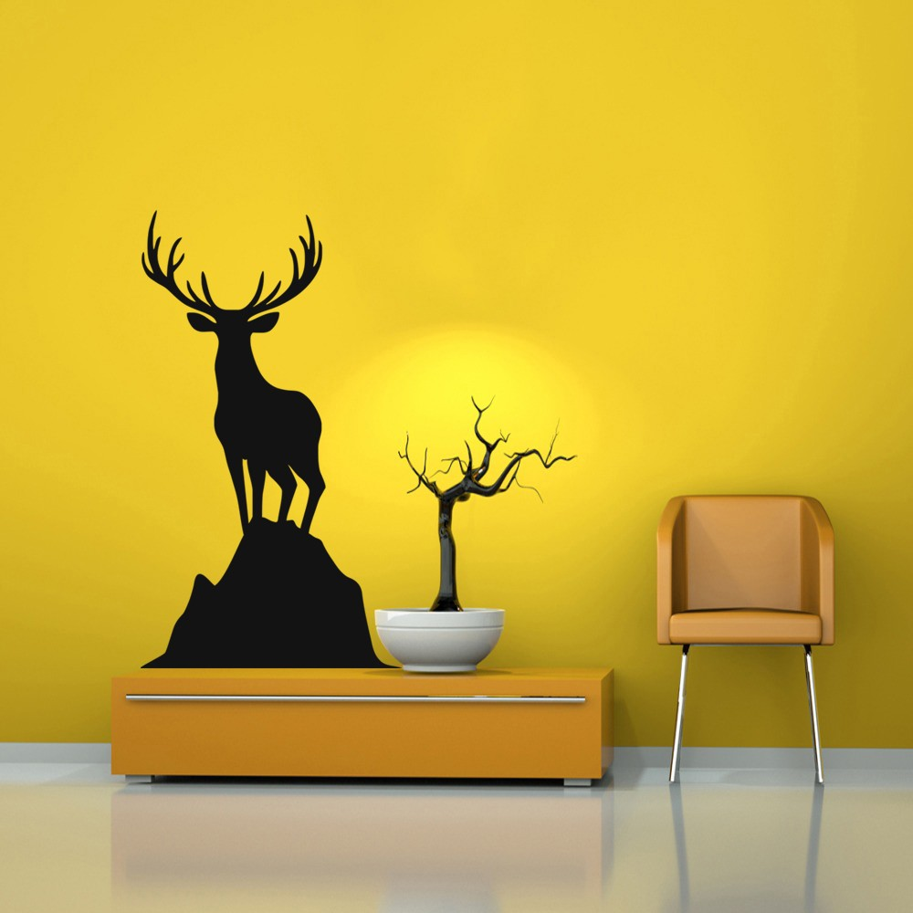 Deer Head Wall Decal Home Decor Vinyl Wild Animal Graphics Deer Wall ...