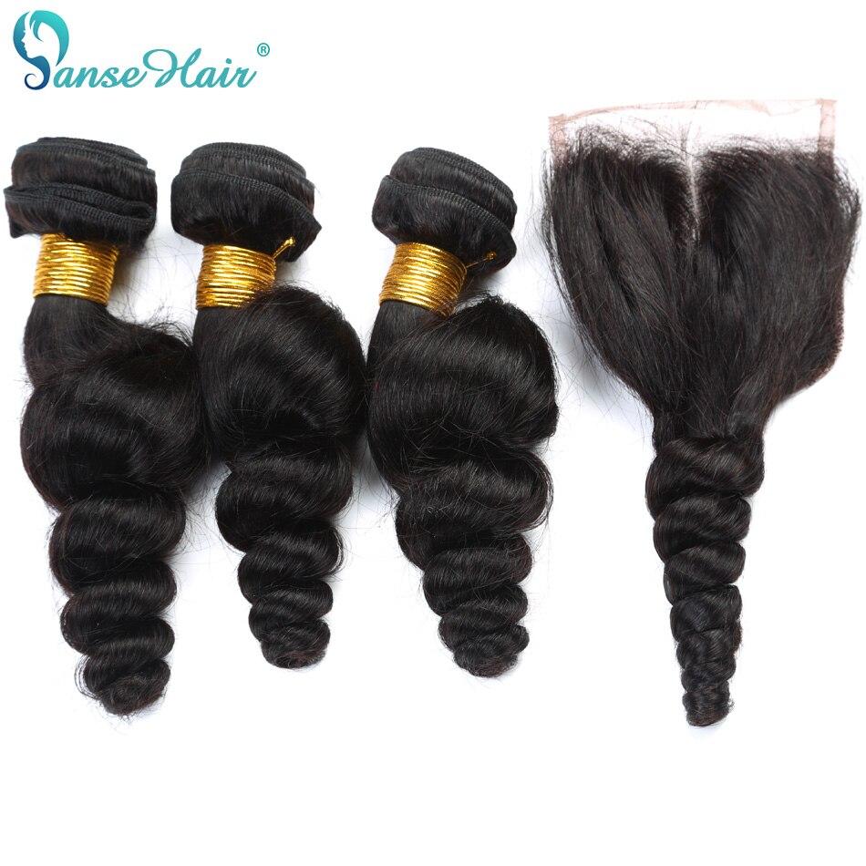 Panse Hair Malaysian Virgin Hair Loose Wave Hair 4 Bundlar Hair With - Mänskligt hår (svart) - Foto 3