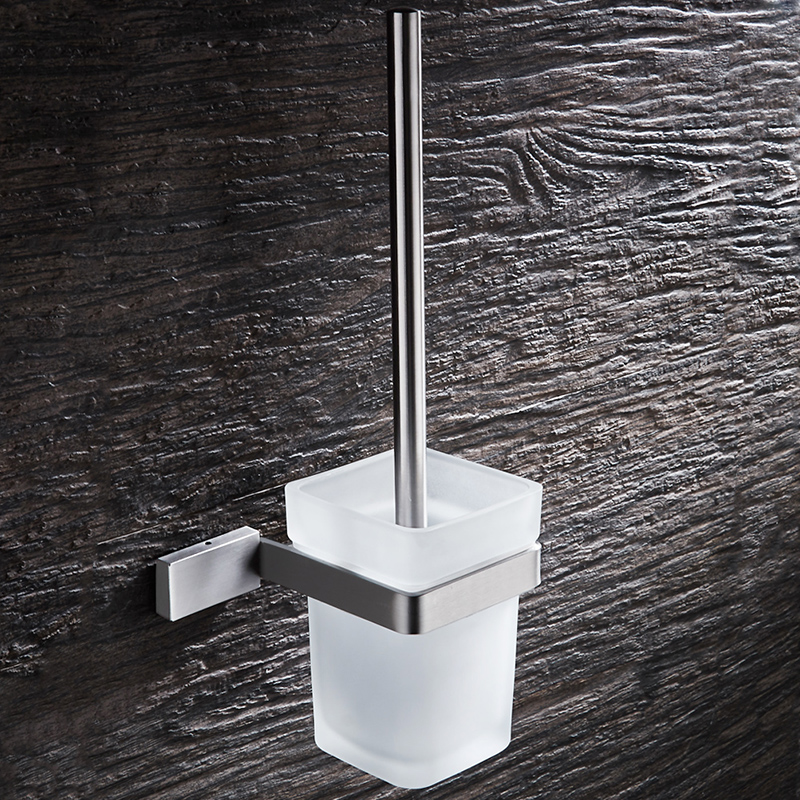 Brushed Nickel Toilet Brush Holder Hanger Wall Mount Bathroom Accessories Set