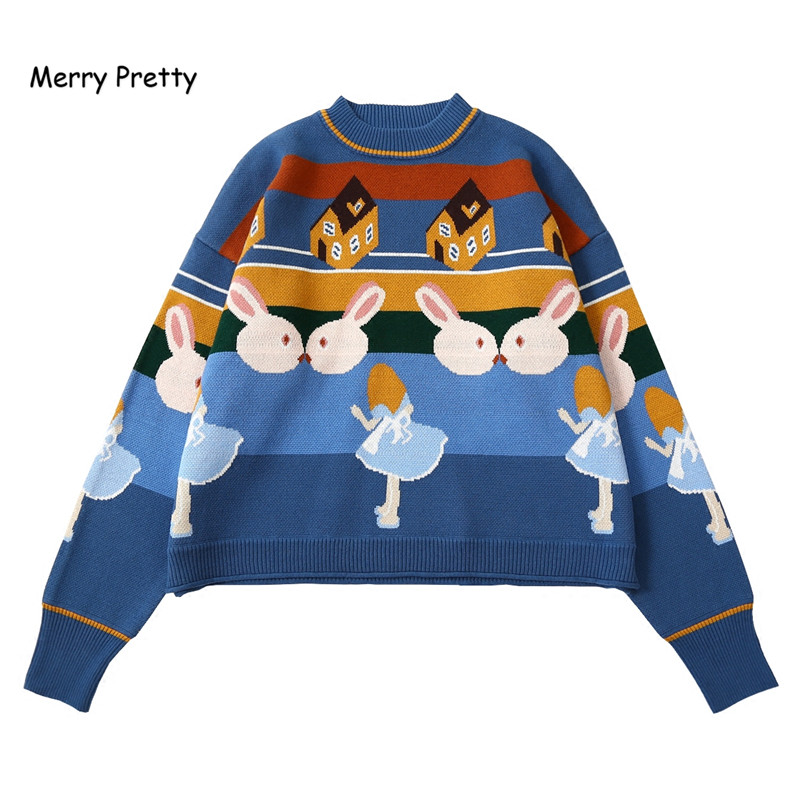 Merry Pretty Women Thick Warm Sweaters Winter Long Sleeve O-Neck Knitted Drop Shoulder Pullover Femme Jumper Knitted Sweater