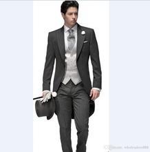 Custom Made Newest Groom Tuxedos Peak Lapel Mens Suit Morning Style Groomsman/Bridegroom Wedding/Prom Suits (Jacket+Pants+vest)