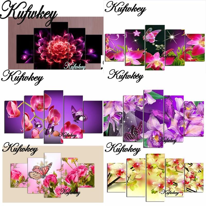 5D DIY teemantvärvikristall Floral Square Rhinestone Home Decor kleepimine 3D teemant tikandid Mosaic lilled 5tk