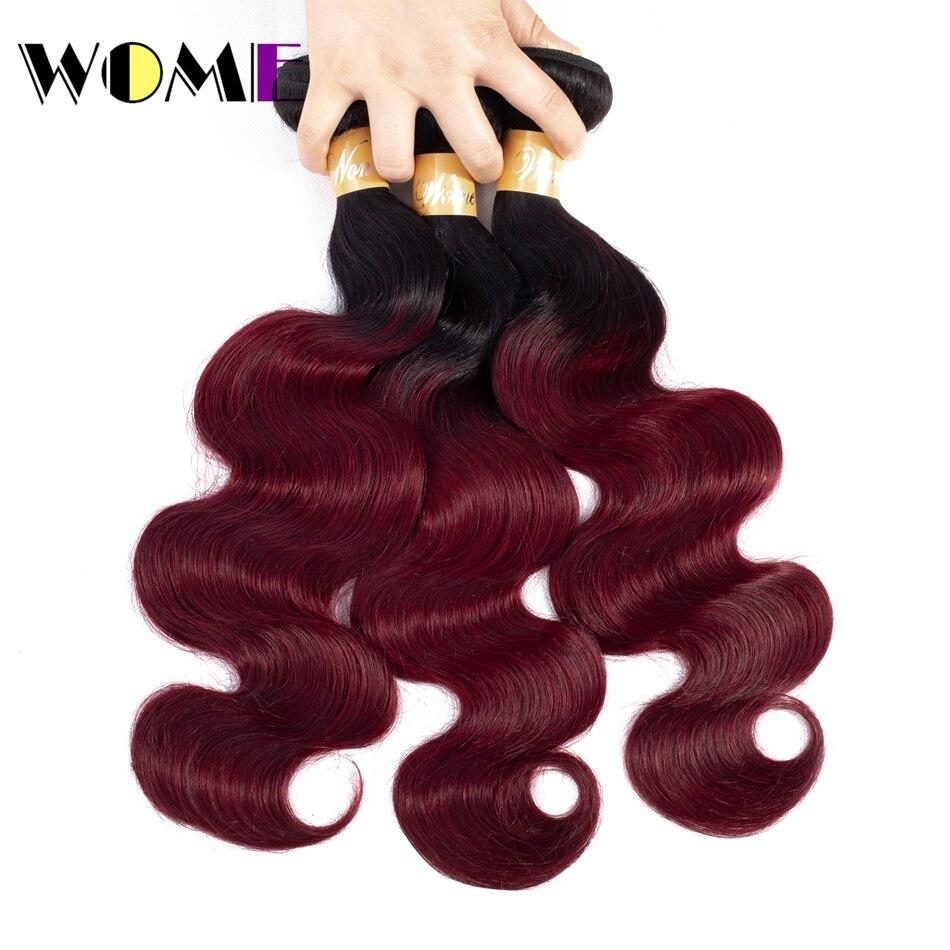Wome Pre colored Ombre Brazilian Hair 3 Bundles Deals 1b 99j 2 Tone Red Burgundy Non